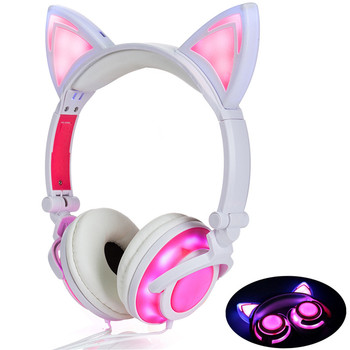 LIMSON USB Charging Wired Folding Stereo Music Earphone Kids Cat Ear Flashing Pink Headphones for Girls