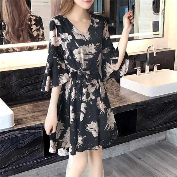 2019 Fashion Cute A-Line Summer Dress Women Party Night Dresses Cheap Casual Print flower Street Wear Black Dress Short Sleeve