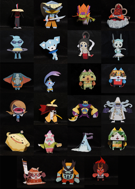 1set Yokai watch 3D Paper model for diy use include 23 different styles paper card diy eductional toys