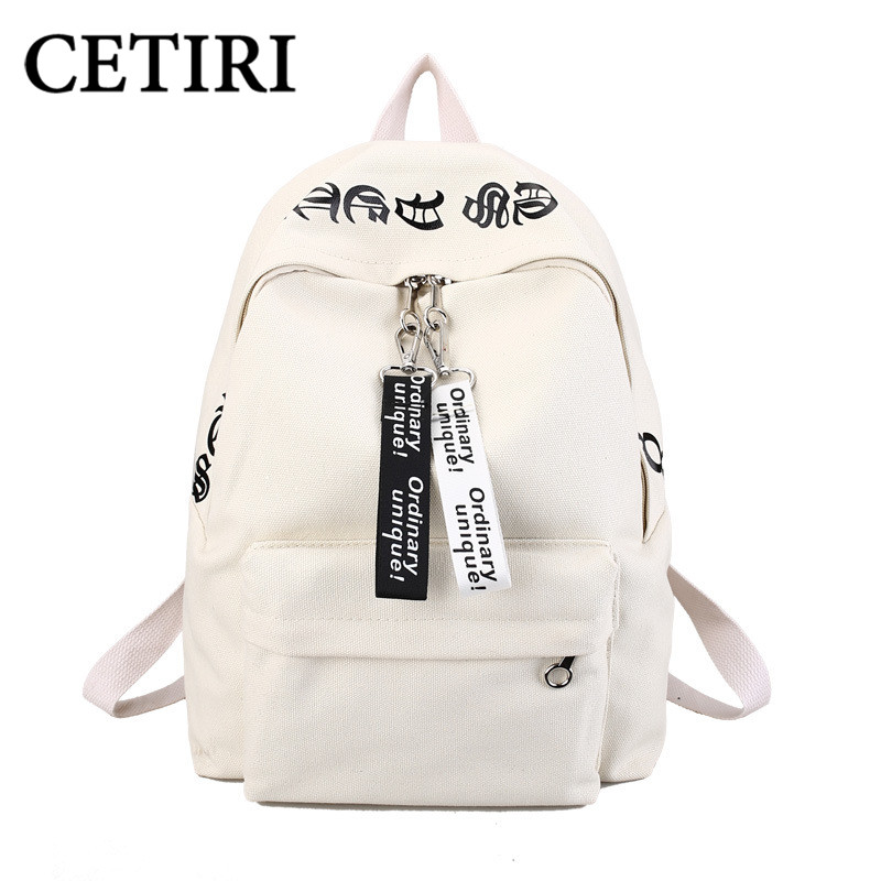 Cetiri White Backpack Canvas Women Backpack School Bags For Girls