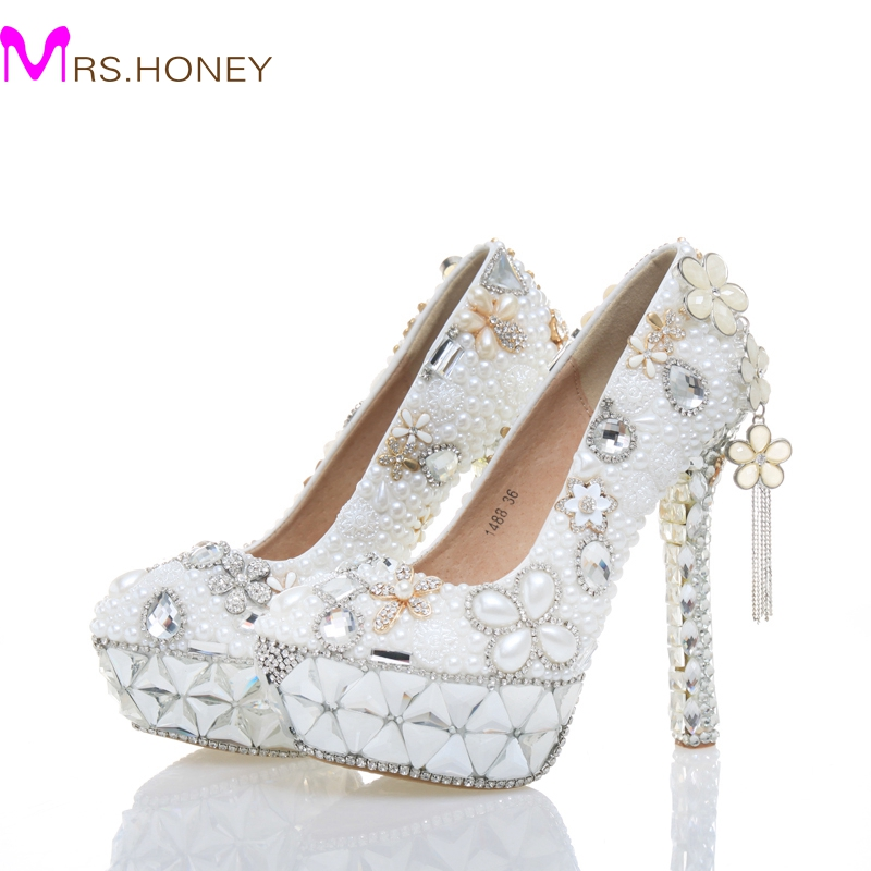 White Pearl Wedding Shoes High Heel Women Real Leather Shoes Plus Size 43 Birthday Party Prom Heels Cinderella Event Pumps цена 2017