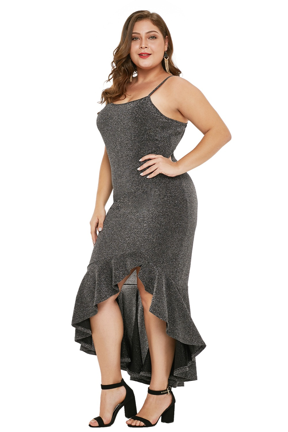 Charcoal-True-Shine-Plus-Size-High-low-Dress-LC610939-13-4