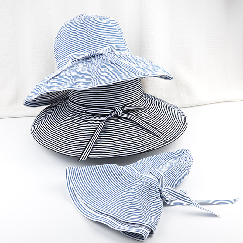 Women Sun Hat For Femme Ladies Foldable Fisherman Hat Beach Holiday Sun Cap Summer Women's Striped Pattern Hats(China)