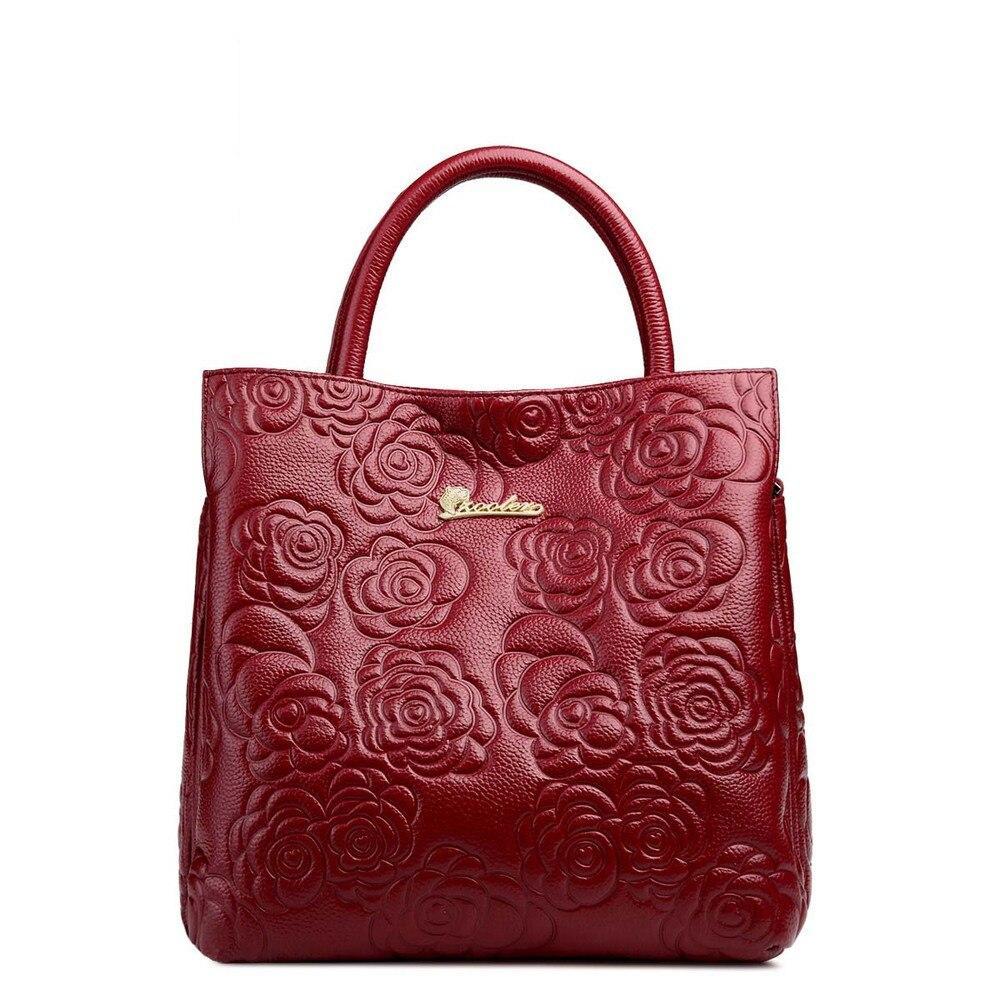 Moda Pelle Bovina Fiore In pelle Goffrata borse Rose pattern impronta Tote del cuoio genuino delle donne delle signore shopping bag - 2