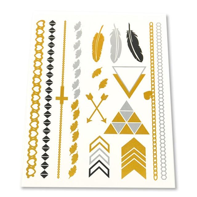 1 folha 2014 Nova Tatuagem Metálico Ouro Pena Temporária Cool Bling Bling Ungender Flash Tats 15*20 cm