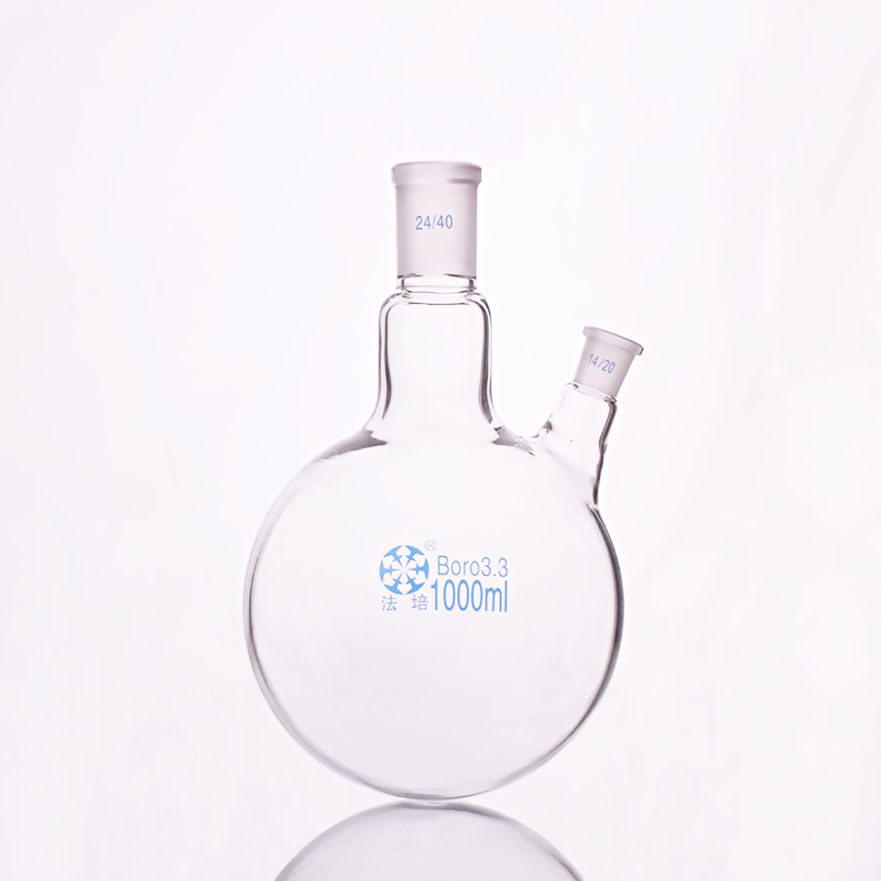 Two-necked flask oblique shape,with two necks standard grinding mouth,Capacity 1000ml,Middle joint 24/40 and lateral joint 14/20 500ml 40 24 2 joint 3 neck round bottom straight necks flask lab glassware