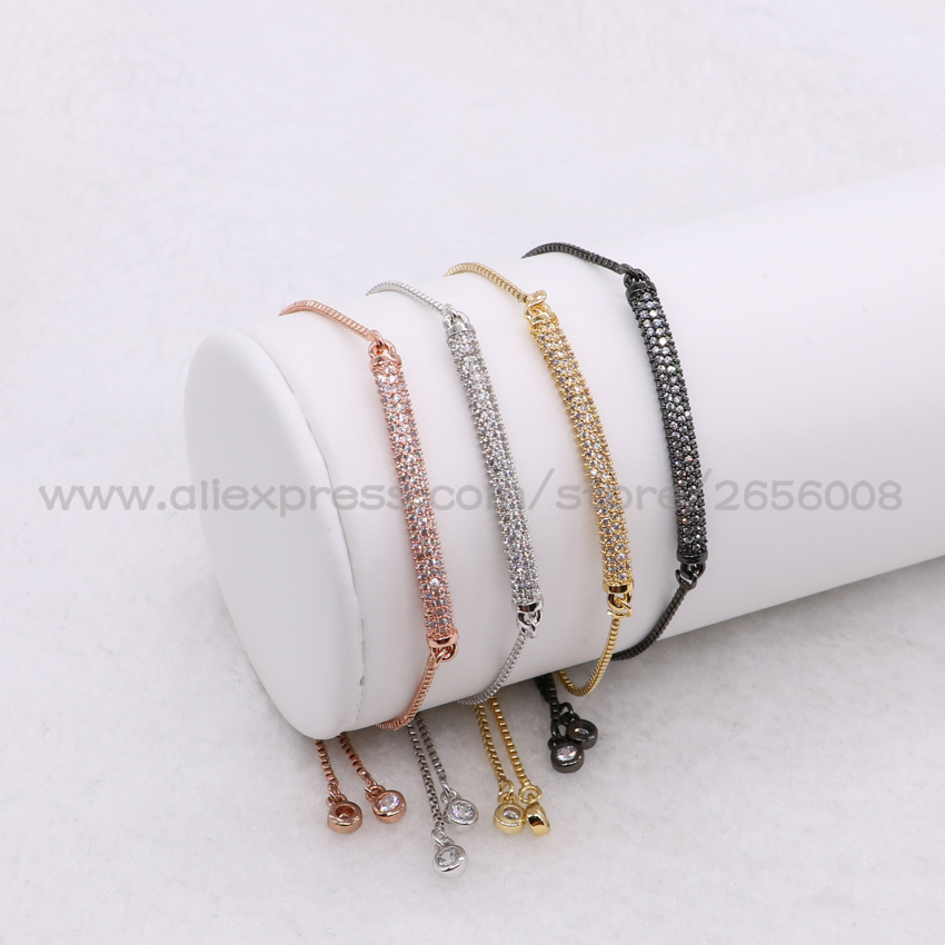 Wholesale mix colors rectangle braceletsmicro pave small stone retangle charm adjustable chain Macrame bracelet for women 1064
