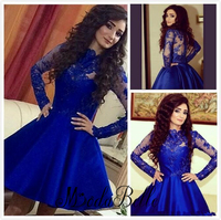 A Line Royal Blue Short Homecoming Dresses High Neck Long Sleeve Satin Lace Appliques Prom Gowns