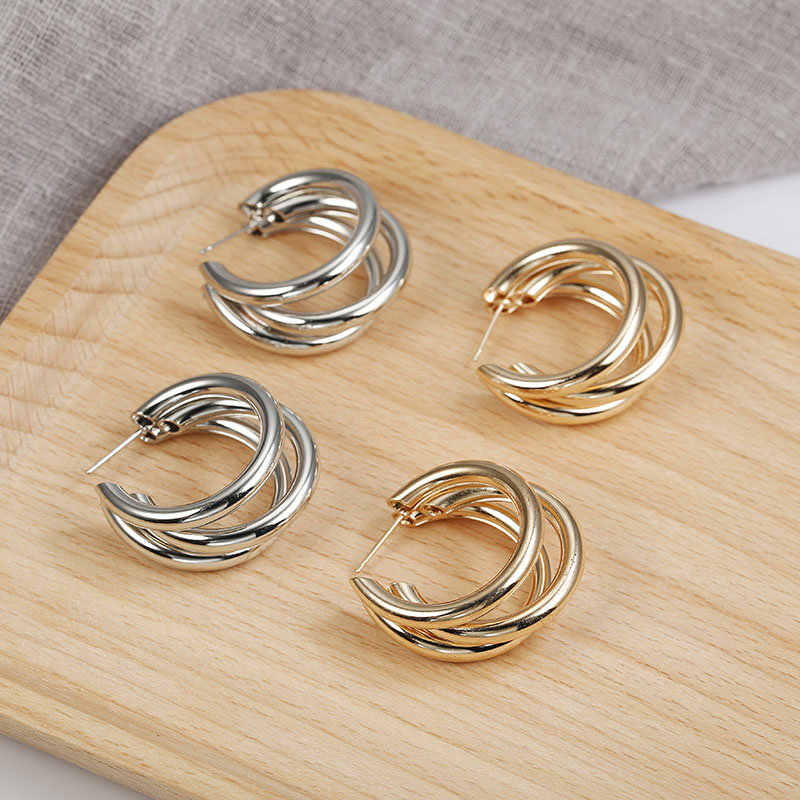 Punk Style Earrings Gold/Silver Color Creativity Overlay semi-circle Open circle earrings Women exaggerated Piercing Jewelry