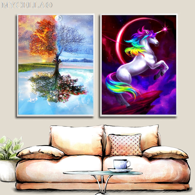 Pittura Diamante DIY Principessa Pony e Stagione Albero Cross Stitch Diamante Pieno Ricamo Mosaico Home Decor Diamante Paesaggio