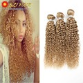 "10""-26""Real 8A Grade Brazilian Kinky Curly Virgin Hair #27 Blonde Curly Hair Extensions 3 Bundles Weave Blonde Curly Human Hair"