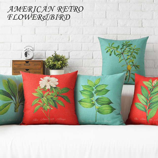 American Style Rural Plant Flowers Elegant Pillow Cover Home Decorative Pillows Linen Case Office Sofa