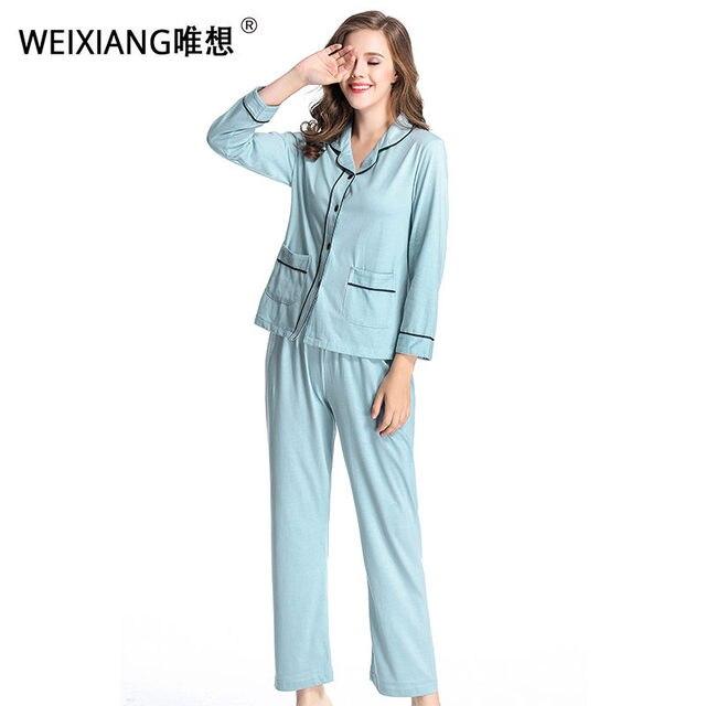 3ad6b84a60 WEIXIANG Women Winter Pajama Set Soft Printing pijama Home Pyjamas Woman  Cotton Pyjama Set Sleepwear Plus