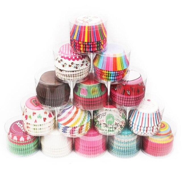 100 個ベーキングカップケーキ紙コップ抗油小ケーキボックスキッチンアクセサリーカップケーキライナーケーキデコレーションツール耐熱皿