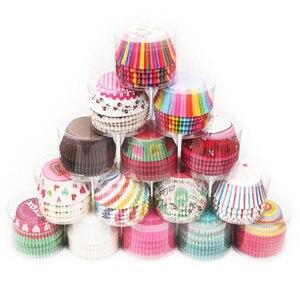 Image 1 - Tazas de papel para hornear, 100 Uds., caja de torta pequeña antiaceite, accesorios de cocina, forro para cupcakes, herramientas de decoración de pasteles