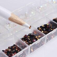 1 Box Black White Mixed Jelly Rhinestones 3D Nail Decoration With Dotting Pen Manicure DIY Nail Art Decoration Set