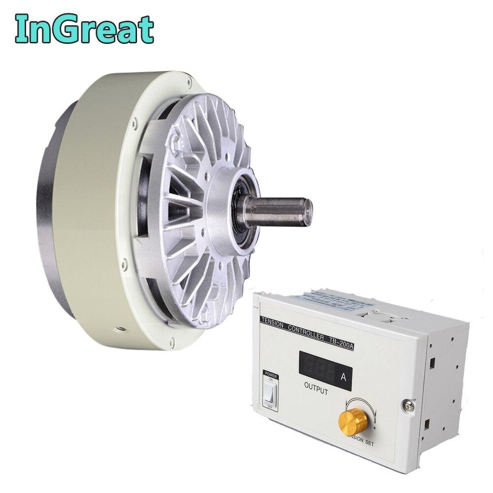 Le frein magnétique de poudre d'axe simple 5 KG 50Nm DC 24 V un w/3A Kits manuels de contrôleur de Tension pour ensacher la Machine de teinture d'impression
