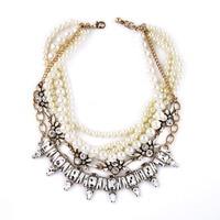 STELLA STARLET PEARL NECKLACE Lulu Lustre Multi Strand Statement Silver Jewelry