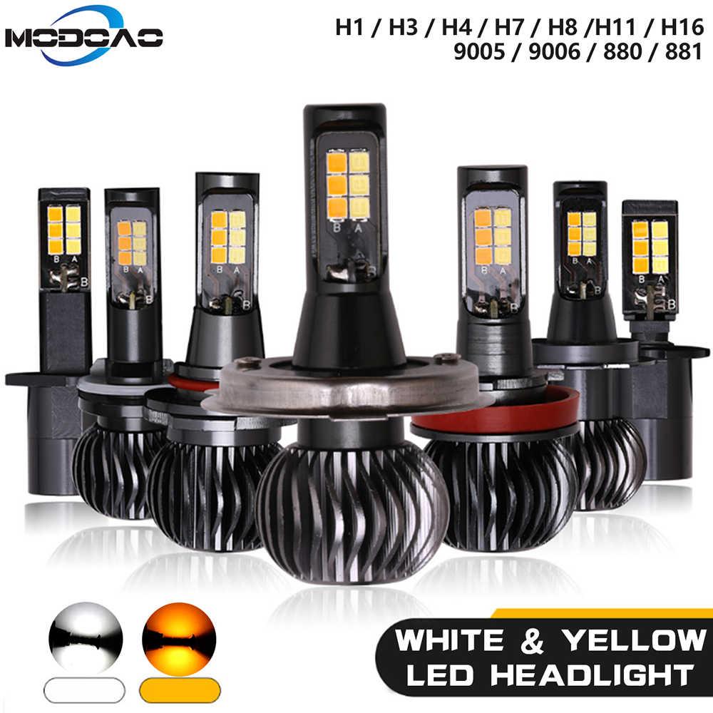 Phares anti-brouillard à Led de voiture bicolore haute puissance lampe Drving double couleur blanche et jaune pour H1 H3 H7 H11/H8 9005/9006