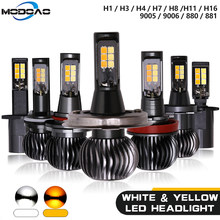Two-color Car Led Fog lights Headlights High Power Highlight White&Yellow Dual Color Drving Lamp For H1 H3 H7 H11/H8 9005/9006(China)