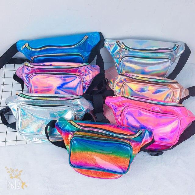 Unisex Handy Waist Belt Climbing Hiking Sport Bum Bag Fanny Pack Zip Pouch Reflect Light Laser Waist Packs