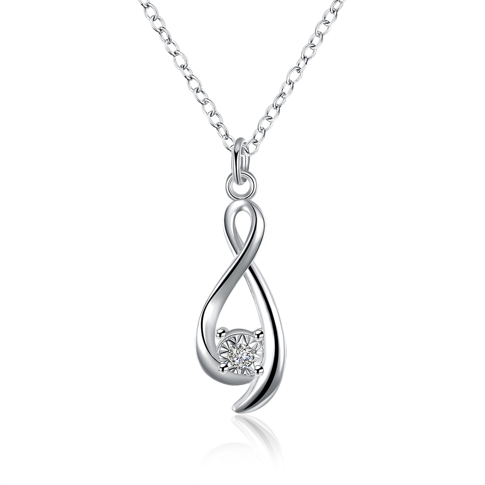 Shop823647 Store Wholesale 2017 new silver necklaces  pendant Crystal twisted 8 collares women necklace  jewerly accessories