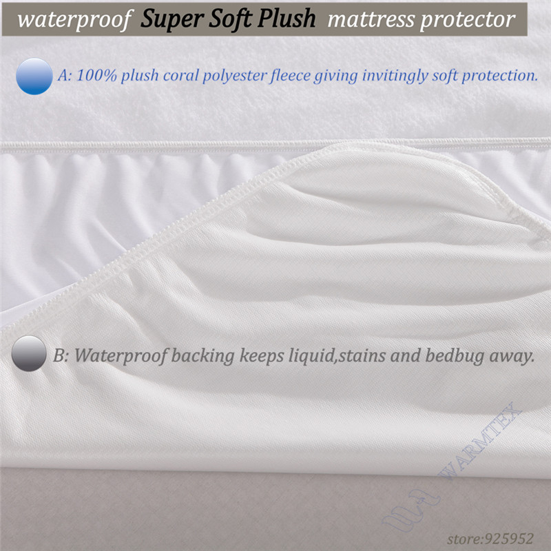 Luxury Customized Soft fleece cloth Waterproof Mattress Protector/ Mattress Cover Both 100% Waterproof and Breathble 80x200cm