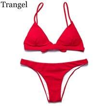 Trangel bikini 2018 women swimsuit bikini set solid color bikinis sexy brazilian bikini low waist swimwear women swimsuits EG017