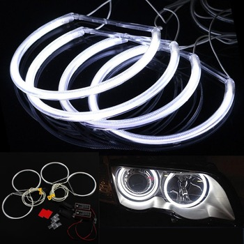 Niscarda Angel Eyes Light For BMW E36 E38 E39 E46 White Car LED CCFL Halo Rings Headlight Auto DRL 4x 131mm Lamp Kit image