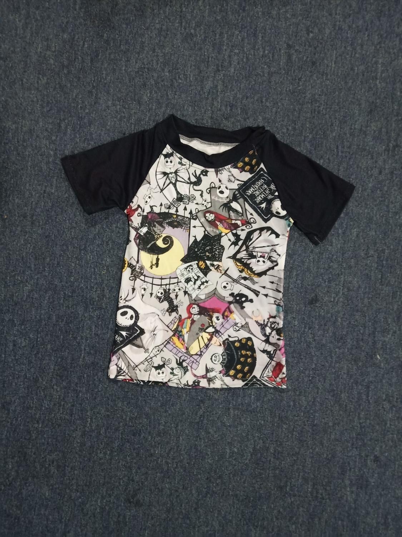 Boy Shirt Raglan-Sleeve Halloween Printing Black Cartoon Summer Character Hot-Sale