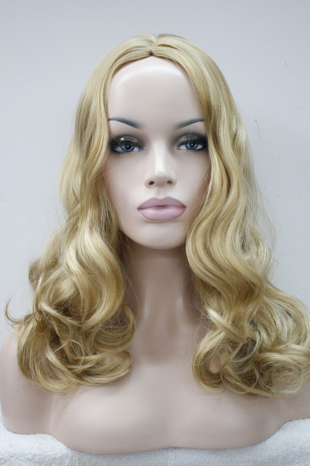 Hot selling> S1836 New sexy no bangs skin top wig long wavy synthetic hair women' wigs select ...