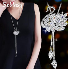 Seblasy Simple Style Long Sweater Chain Crystal Swan Necklaces & Pendants for Women High Quality Night Club Jewelry Gifts Bijoux(China)
