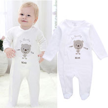 100cm Cotton Newborn Infant Baby Girls Boy Clothes Long Sleeve Footies Jumpsuit Clothing One-Piece 0-12M