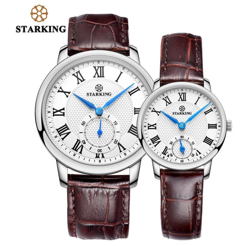 STARKING Watch Genuine Leather Brown Strap Quartz Wrist Watch for Lovers Gifts Super Slim Couple Watches Set Hodinky Pair 3ATM стоимость