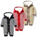 Baby Winter Rompers For Baby Boy Girl Newborn Baby Winter Thickened Jumpsuit Romper Hooded Striped Knitted Baby Winter Clothing