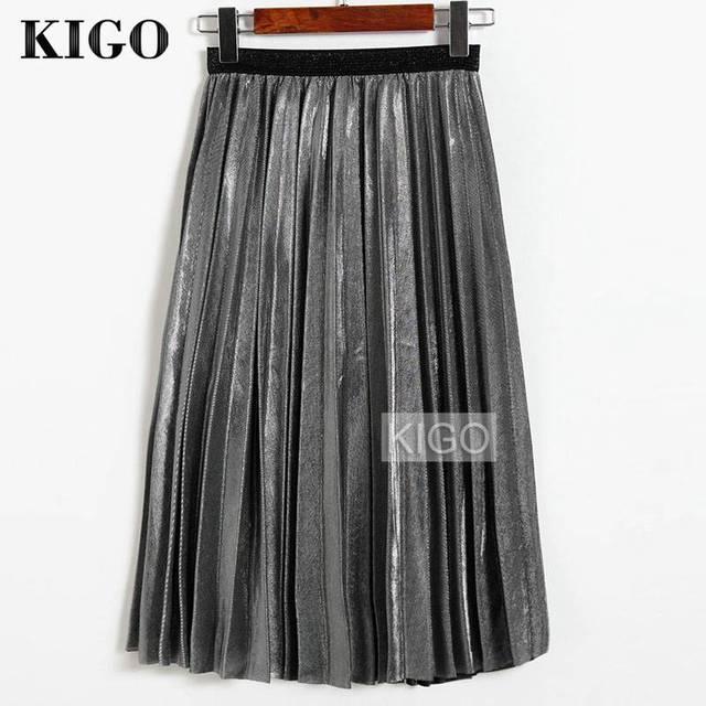 KIGO 2016 Women Metallic Silver Skirt Midi Skirt High Waist Metallic Pleated Skirt Party Club Ladies Saia Fenimias KZ2087H