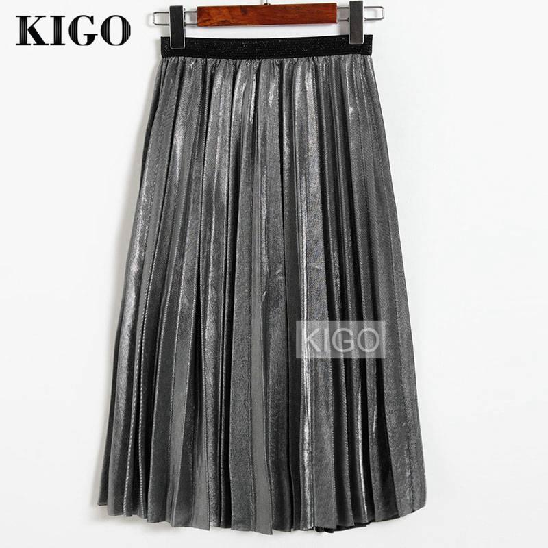 KIGO 2018 Vrouwen Metallic Zilveren Rok Midi Rok Hoge Taille Metalen Plooirok Party Club Dames Saia Fenimias KZ2087H