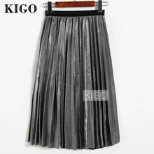 KIGO 2018 Women Metallic Silver Skirt Midi Skirt High Waist Metallic Pleated Skirt Party Club Ladies Saia Fenimias KZ2087H