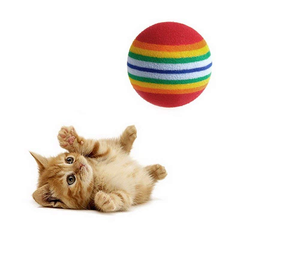 Yooap 10pcs Rainbow Ball Golf Indoor Driving Field Puppy Cat Toy Bites Teeth Pet Supplies Durable and Practical