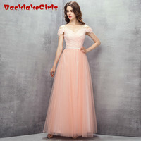 BacklakeGirl 2017 Fairy Princess Pink A Line Long Evening Dress Tulle Organza Stap Cap Sleeve Zipper
