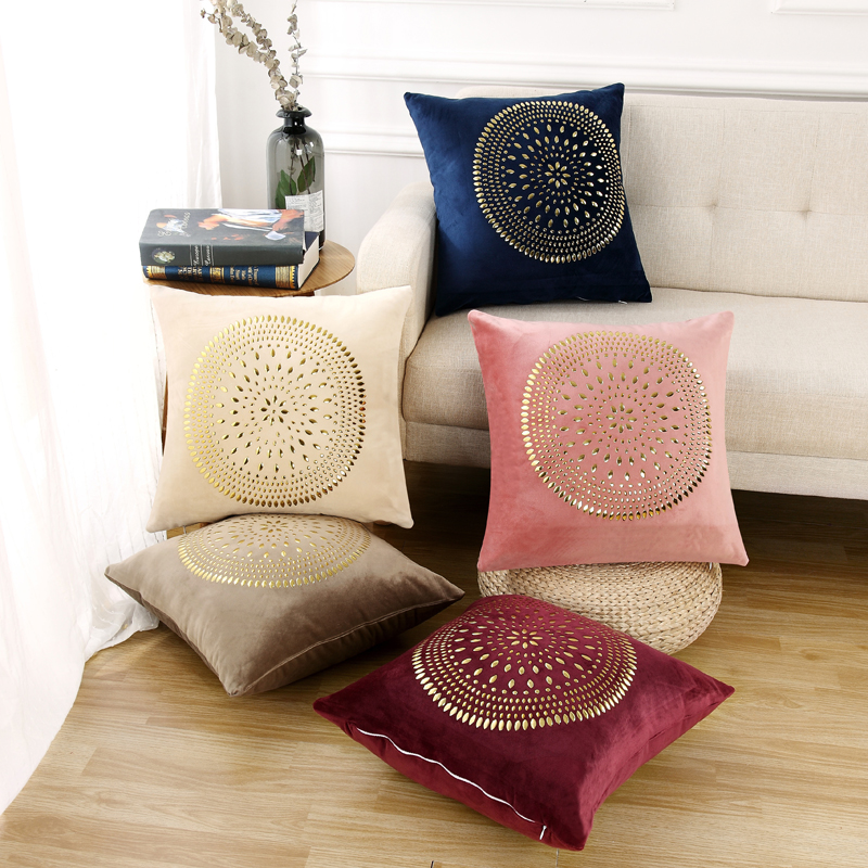Idouillet Bohemia Stylish Oblong Rivets Velvet Decorative Throw Pillow Case Seat Cushion Cover For Bed Sofa Couch Square 45x45cm Refreshing And Beneficial To The Eyes Home Textile