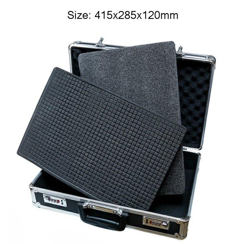 Aluminum Alloy Tool Box Password Lock Instrument Box Impact Resistance Safety Case Portable Suitcase With Pre-cut Sponge Black