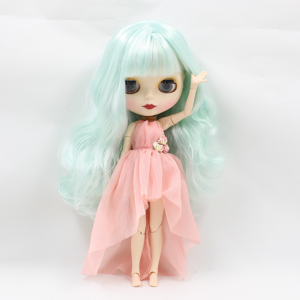 все цены на matte face Nude Doll mint hair with bangs curly hair joint body joint doll 230BL4006136 онлайн
