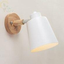 Деревянные Настенные светильники прикроватная настенная лампа современный настенный светильник для спальни скандинавские 6 цветов Macaroon рулевая колонка E27 домашнее освещение