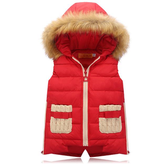 Coletes À Prova de inverno Meninas das Crianças Para Baixo do Colete De Algodão Quente Do Bebê Menina Menino Gola De Pele Com Capuz Colete Grosso Crianças Colete Outerwear jaqueta