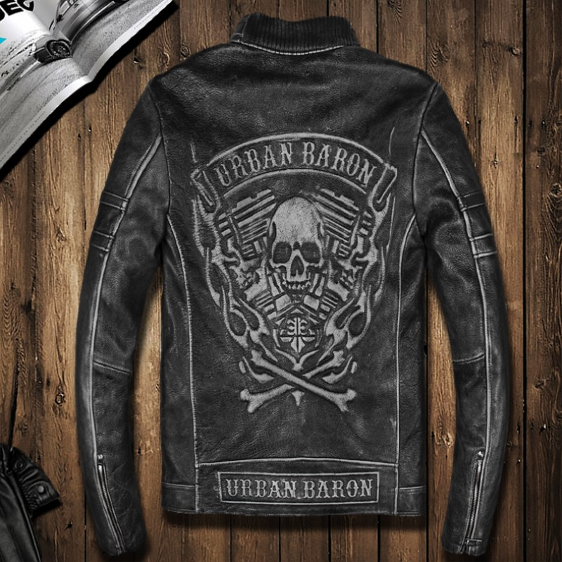 Male Genuine Leather First Layer Cowhide Leather Clothing Skull Pattern Male Motorcycle Leather Jacket Stand Collar