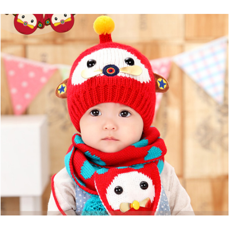 Winter ear muff hat crochet baby hat for Girls Boys baby hat scarf gloves set Headband Knitted baby cap For Children's Clothing
