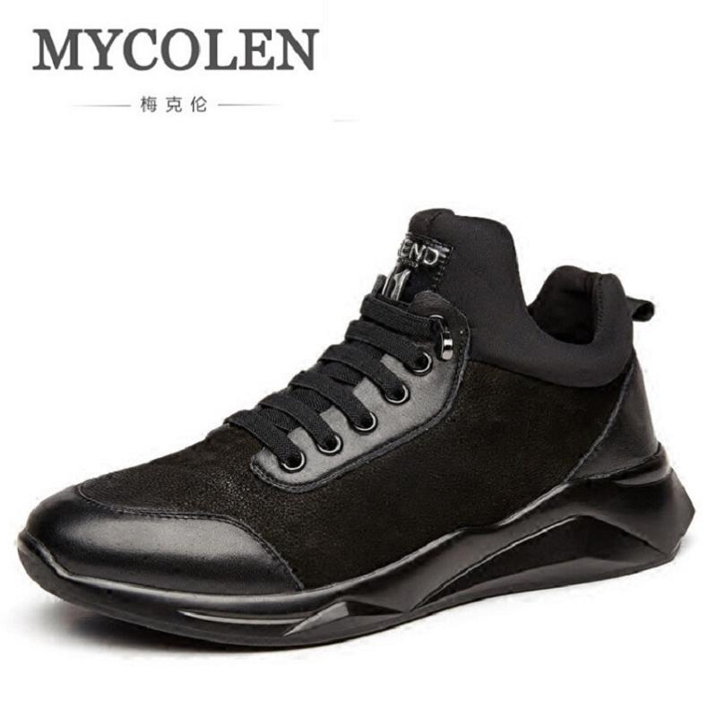 MYCOLEN Casual Shoes Men Breathable Walking Ankle Shoes Comfortable Black Flat Shoes Men Winter Leather Zapatos De Hombre new fashion men luxury brand casual shoes men non slip breathable genuine leather casual shoes ankle boots zapatos hombre 3s88