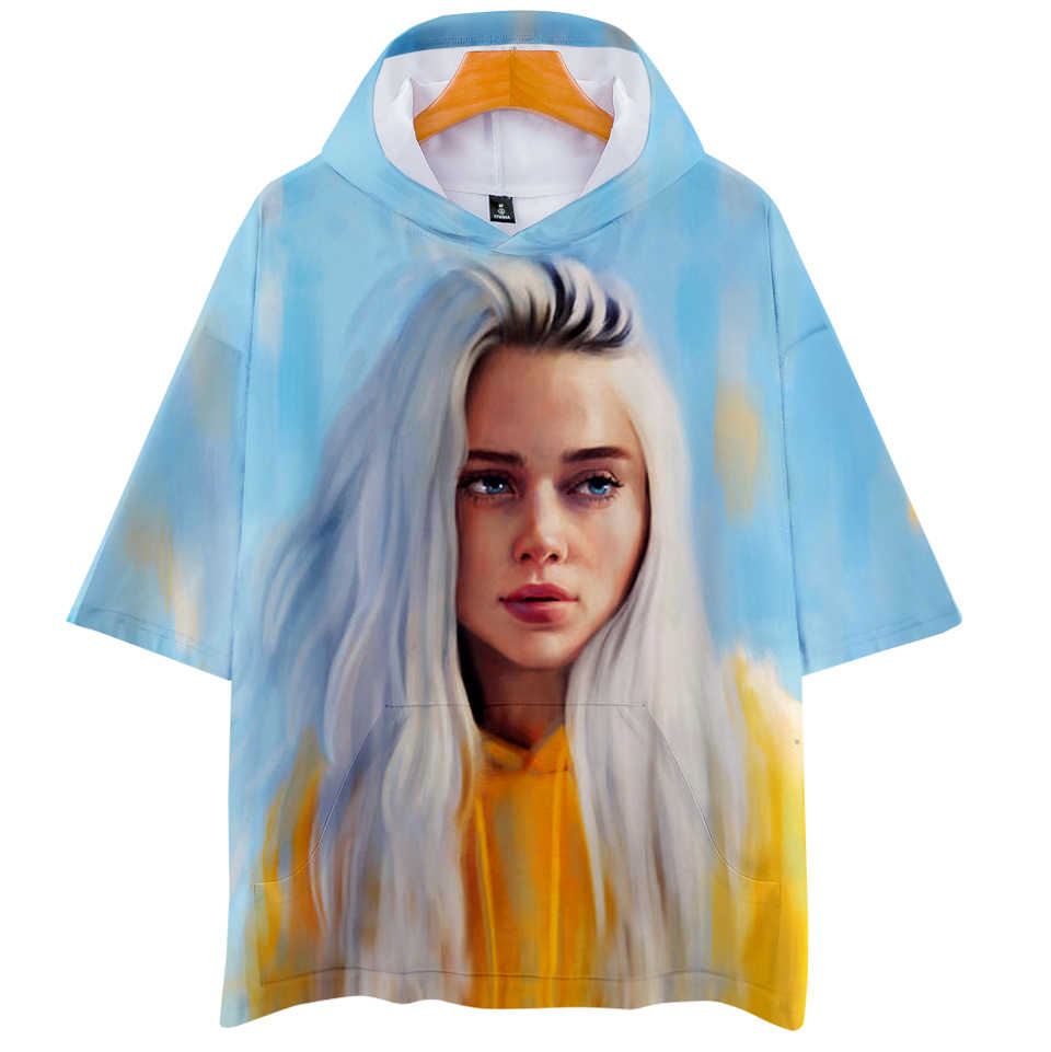 5ff4e1603bffa FADUN TOMMY 3D Billie Eilish print Hoodies Women and Men Clothes 2018  Casual Hot Sale Short