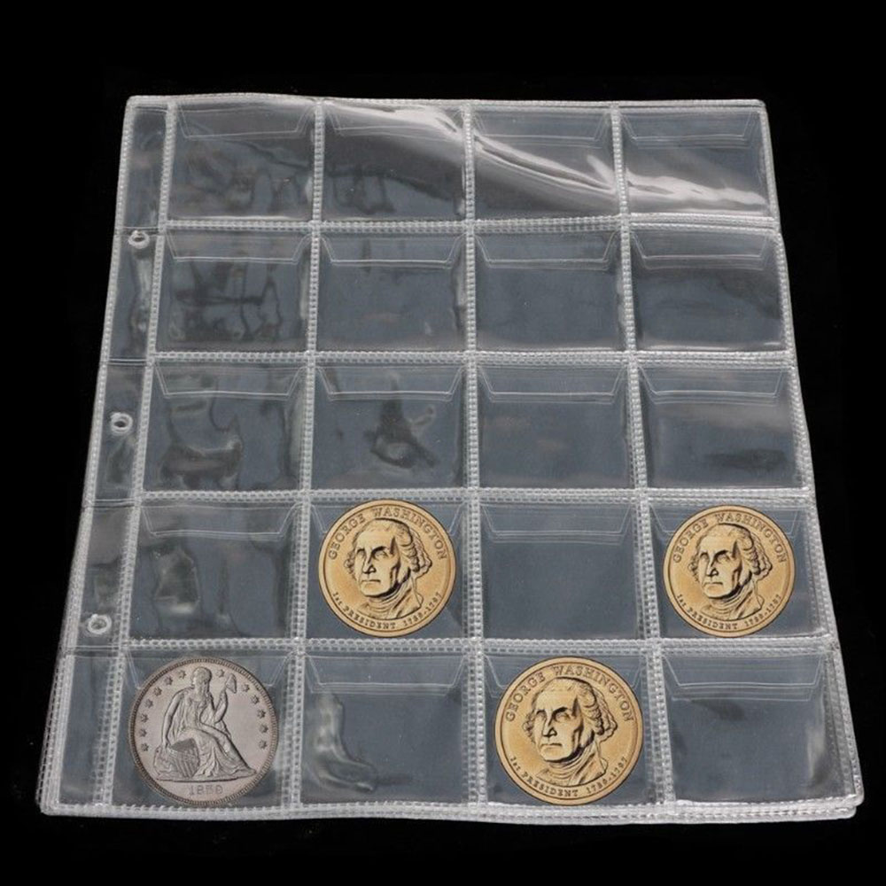 Plastic 20 Pockets Classic Coin Holders Sheets For Storage Collection Album Pockets Coin Storage Coin Purses Free Shipping